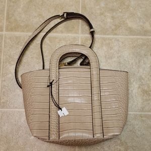 Who What Wear   Faux Reptile Bag   Beige   NWT